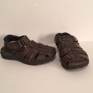Smartfit Brown Leather Toddler Boys Sandals - 10.5